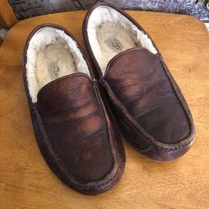 UGG Ascott brown leather slippers #5379